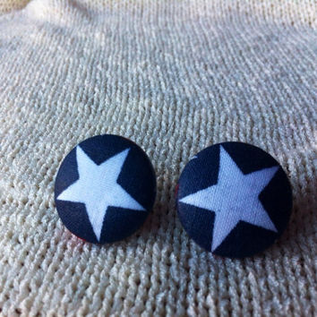Retro Star Fabric Button Earrings, Covered Button Earrings, Wonder Woman Earrings, Captain America, Cosplay Jewelry