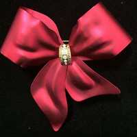 Matte Red Bow Brooch Pin Crystal Rhinestone Highlights Gold Tone Center Romantic Holiday Vintage Jewelry 518