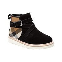 BURBERRY Girls' Belt Detail House Check & Suede Boot, 35, Black