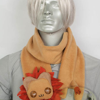 Long Lion Scarf, Cute Animal, fleece, long, warm, Handmade