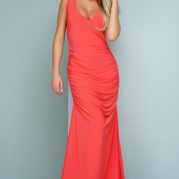 Kendra Sleeveless Evening Gown - Coral