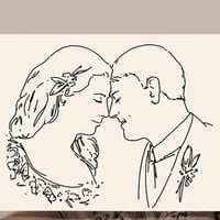Drawing portraits from photos Minimalist Gift for dad / mom Custom wedding portrait Family portrait Commission Hand drawn Last minute gift