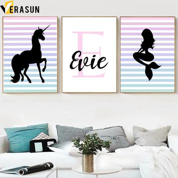 Black Unicorn Mermaid Quote Wall Art Canvas Painting Nordic Posters and Prints Pop Art Wall Pictures for Living Room Deco Quadro