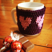 Coffee sleeve,Cup cozy,Purple cup cozy,Violet mugwarmer,Heart cup cozy,Coffee cozy,Coffee mug cozy,Coffee cup sleeve,Tea cozy,Tea mug sleeve
