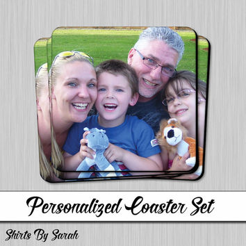 Personalized Photo Coaster Set - 4 Drink Coasters Cork Back Hardboard Custom Photo Decor Glass Coaster