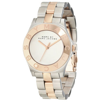 Marc by Marc Jacobs MBM3129 Women's Blade Rose Gold Tone Bezel Silver Dial Two Tone Stainless Steel Bracelet Watch