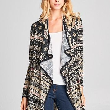 Black Aztec Open Cardigan