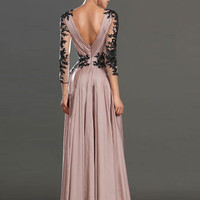 Prom Dress With Illusion Long Sleeves