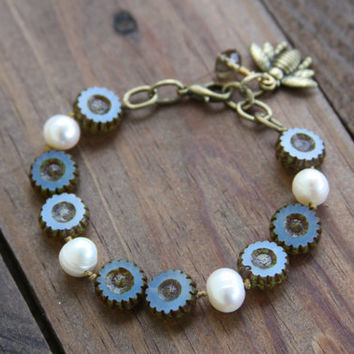 Beaded Bracelet, Hand Knotted, Daisy Flower Czech Glass, Freshwater Pearls, Spring, Summer, Boho chic