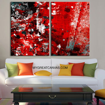 Abstract Colorful Wall Art Canvas Print | Red Black MixColor Canvas Art Print | Large Size Wall Art 2 Panel Canvas Print