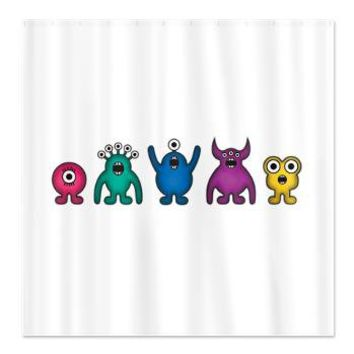 Kawaii Rainbow Alien Monsters Shower Curtain> Rainbow Illustration Gifts> Hippy Gift Shop Funky Hippie Gifts