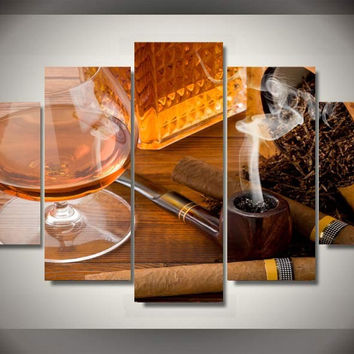 Smoking Pipe Classic 5-Piece Wall Art Canvas
