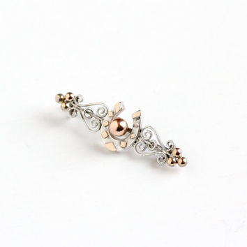 Antique 800 Silver & Rose Gold Wash Horseshoe Pin - Vintage Victorian 1890s Goodluck Swirling Filigree Studded Jewelry Accessory