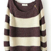 Coffee White Striped Zipper Sweater