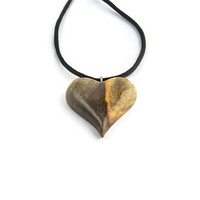 Wooden Heart Necklace, Wood Heart Pendant, Wood Jewelry, Wood Pendant, Wood Heart Pendant, Heart Pendant, Carved Wooden Heart, Heart Jewelry