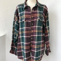 THE AVENUE OVERSIZE VINTAGE FLANNEL- GREEN/YELLOW