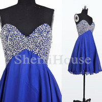 Sequins Sweetheart Strapless Empired Short Bridesmaid Celebrity dress ,Chiffon Evening Party Prom Dress Homecoming Dress