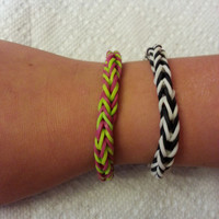 Rainbow Loom Two Color Fishtail Rubber Band Bracelet Your Pick Your Color and Size