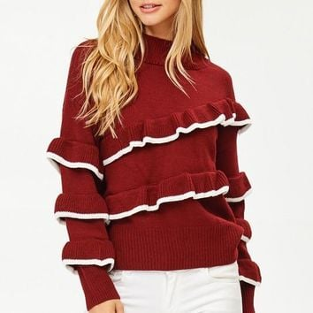 Reina Burgundy Ruffle Knit Sweater