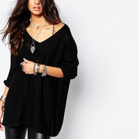 Noisy May Deep V-Neck Oversize Knit