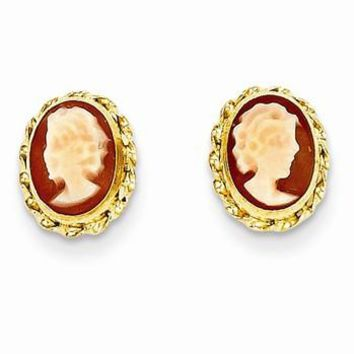 14k Yellow Gold Cameo Post Earrings