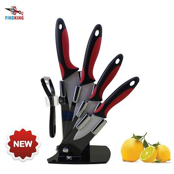 FINDKING Brand New arrival kitchen knives 3 inch+4 inch+5 inch+6 inch+peeler+acrylic knife block holder 6 pcs ceramic knife set