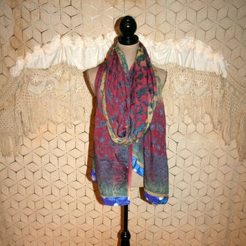 Ethnic Silk Scarf Dupatta Bohemian Paisley Wrap Burnout Moroccan Drape Valance Bohemian Clothing Bohemian Home Decor Purple Teal, Blue