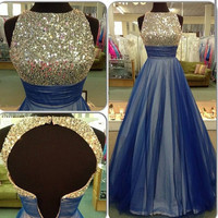 A Line Prom Dresses, Sequins Sleeveless Evening Dress 2016, Navy Blue Prom Dress 2016