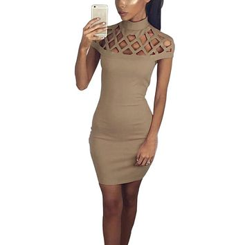 Fashion Women's Solid Dresses Sexy Hollow Out Short Sleeve Turtle Neck Bodycon Strechy Party Vestidos Autumn Clothings LX108