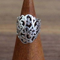Sterling Silver Filigree Swirl Ring, Silver Ring, Perfect Gift, Silver Jewellery, Elegant Ladies Jewelry, Fine Silver Designs