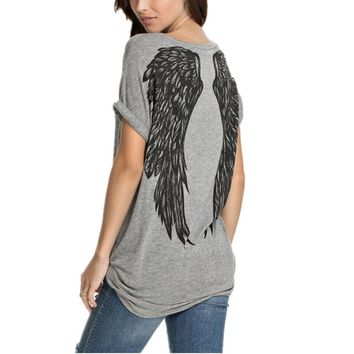 Fashion Back Angel Wings Print T shirt Summer Style Women
