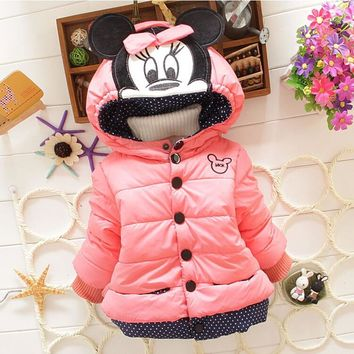 Minnie Jacket Kids Cotton Warm Winter Coat Chirdren Character Lovely Thick Hoodies Outerwear
