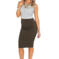 Zipper Pencil Skirt Olive