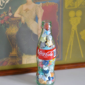 Lucky Stars - Origami in a Glass Coke Bottle - Wishing Star Jar - Handmade by The Hippie Patch - Coca-Cola