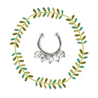 Tribal Small Faux Septum Piercing, Petite Silver Fake Nose Ring