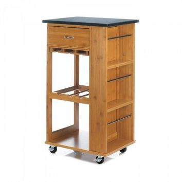 Bamboo Kitchen Cart With Marble