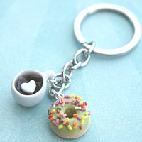 donut and coffee keychain