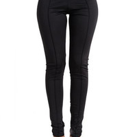 Black Wide Elastic Button Detail Waist Skinny Pants