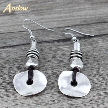 Anslow Antique Silver Plated Wedding Earrings For Brides Women Female Women Silver Earring Lady Gift Free Shipping LOW0031AE