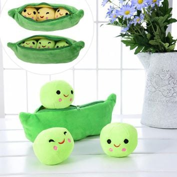25CM Cute Kids Baby Plush Toy Pea Stuffed Plant Doll Kawaii For Children Boys Girls gift High Quality Pea-shaped Pillow Toy