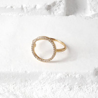 Gold-Toned Cubic Zirconia Open Circle Ring