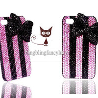 iPhone case black diamond Bow - bling iphone 4s case - Bow iphone case - Bow iphone 4 case Pink crystal cute iphone 4s case iphone cover
