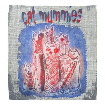 cat mummies with textured background bandana