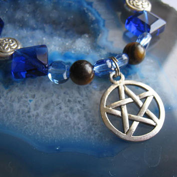 """Blue & Brown Pentacle Charm Bracelet (42)   5 3/4"""", magickal, wiccan, witch, spiritual, Pagan Poetry Collection, unique visions by jen"""