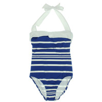 Lauren Ralph Lauren Womens Halter Bandeau One-Piece Swimsuit
