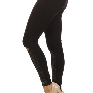 Knit Legging with Slit Detail Metallic Foil Pattern and Elastic Waistband