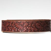 Chestnut Brown Leather Choker - Embossed with Thorns -  Brass Fasteners
