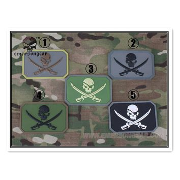 Emerson Airsoft Tactical Pirate Captain Skull 3D PVC Patch Paintball Military Skeleton Rubber Badge PVC Patch Gun Accessories