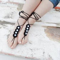 Anklet, wedding barefoot, '' Bohemian wedding anklet'' sandals, black anklet, Bridal accessories beach party, garden party,