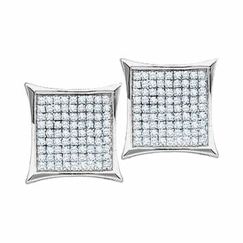 10kt White Gold Women's Round Diamond Square Kite Cluster Earrings 1-10 Cttw - FREE Shipping (US/CAN)